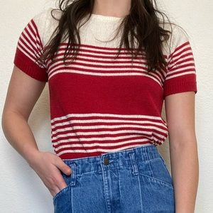 Vintage Red Cream Striped Short Sleeve Sweater